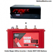 Exide Magic 625 Va Inverter With Exide Inva King IKST1350 135Ah Tubular Battery